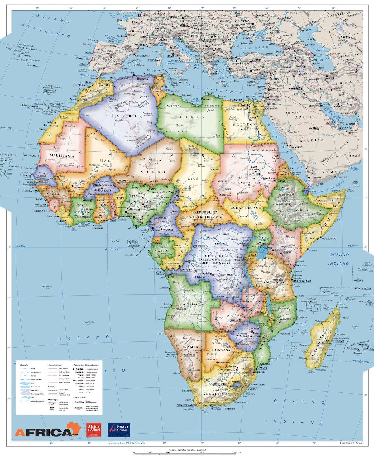 Cartina Italia Monti E Fiumi.Mappa Politica E Fisica Dell Africa Africa