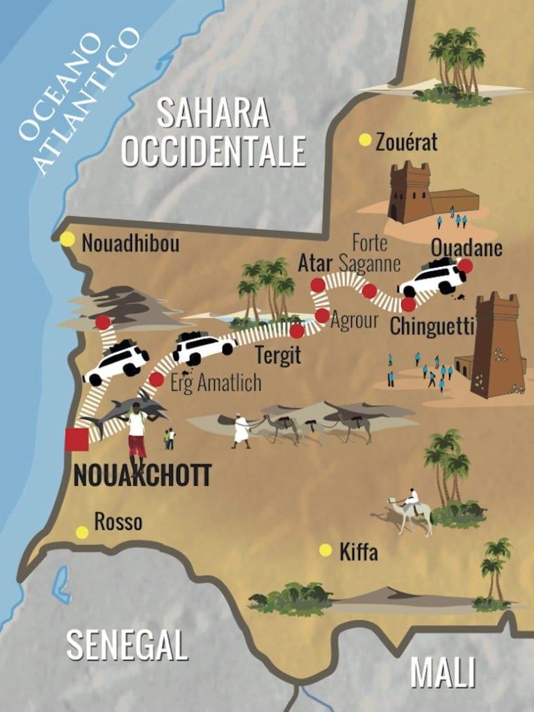 Mauritania mappa viaggio 2019