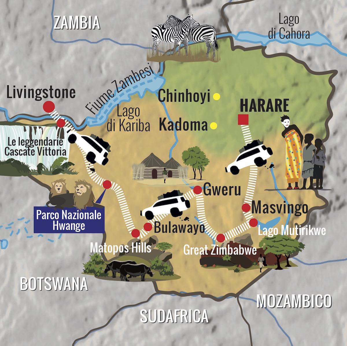 Mappa viaggio Zimbabwe
